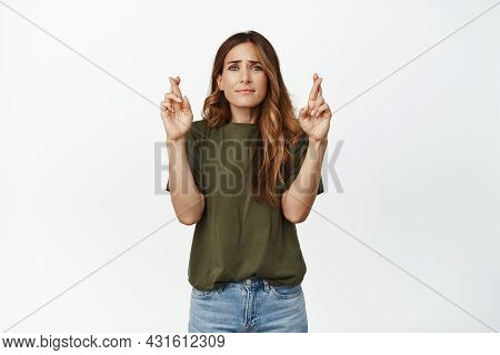 Hopeful Caucasian Woman, Middle Aged Female Model Cross Fingers, Praying, Hoping For Wish Come True,