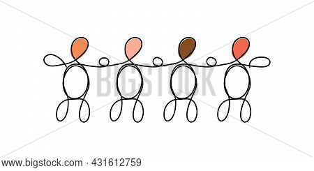 Line Art Diversity Concept. A Group Of Four Different People Drawn With One Line On White. Teamwork,