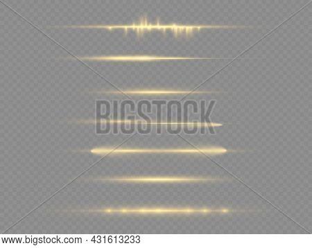 Horizontal Light Rays, Beams, Glow Yellow Line.