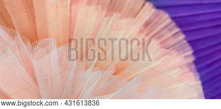 Fragment Pair Of Colorful Ballet Tutus.abstract Close-up Selective Focus Peach And Purple Mesh.circl