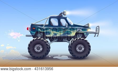 A Sports Off-road Pickup Truck With Large Wheels, Headlights, A Strong Bumper, Shock Absorbers Drive
