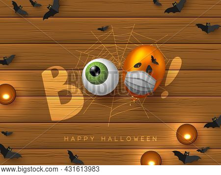 Halloween Coronavirus Concept, Covid-19 Protection. Word Boo, Lossy Balloon With Monster Faces In Pr