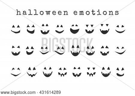 Halloween Face Collection, Scary Grinning Eyes And Smiles Of Jack Pumpkin And Ghosts.