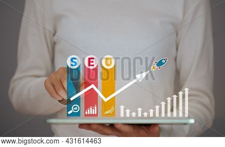 Seo Search Engine Optimization, Concept For Promoting  Ranking Traffic On Website,  Optimizing Your