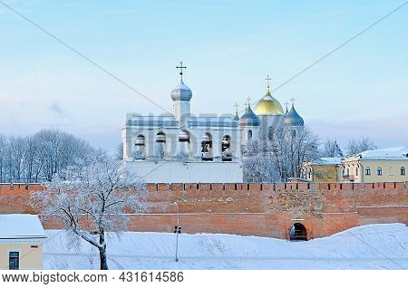 Veliky Novgorod, Russia. St. Sophia Orthodox Cathedral With The Belfry Among The Frosty Trees In Win