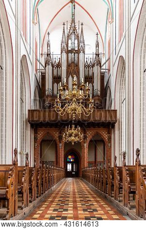 Schwerin, Germany - August 2, 2019: Interior View Of Cathedral. It Is An Evangelical Lutheran Cathed