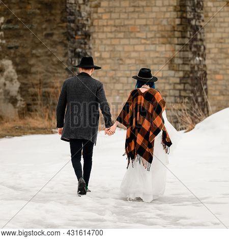 Bride Couple On A Bridge, Viaduct In Ukraine.