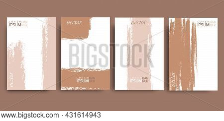 Grunge Background.brush Paint Vector . Strip Paint .roller Brushes With Colors Paint For Text .abstr