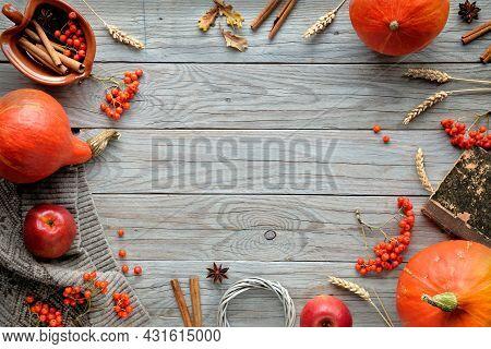 Thanksgiving Decorations. Orange Hokkaido Pumpkins, Rowan Berry, Apples, Cinnamon And Frame Made Fro