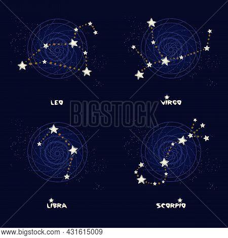 Set Of Zodiac Constellations Leo, Virgo, Libra, Scorpio