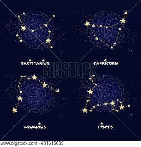 Set Of Zodiac Constellations Sagittarius, Capricorn, Aquarius, Pisces.