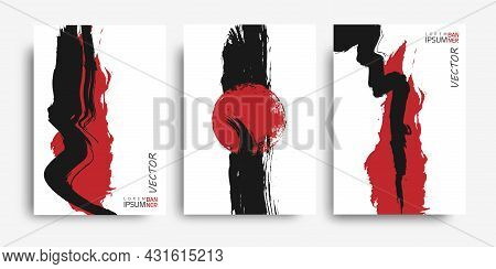 Brush Paint Hand Drawn.red Spot.strip Of Paint .grunge Background.roller Brushes With Colors Paint F