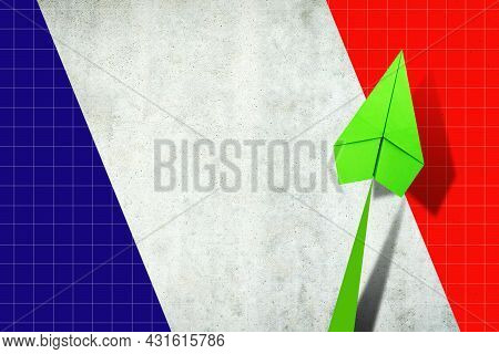 Upward Arrow On The Background Of The Flag Of France. Paper Plane. Economic Recovery. Copy Space. Bu