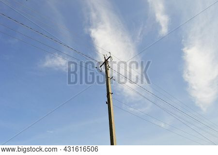 Power Electric Pole With Line Wire On Colored Background Close Up