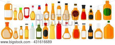 Illustration Big Kit Varied Glass Bottles Filled Liquid Sauce Habanero