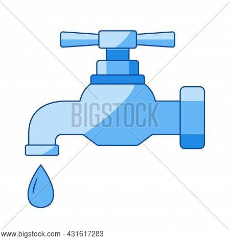 Tap Icon. Color Faucet In Flat Style. Water Supply Illustration For Infographic, Website Or App. Vec