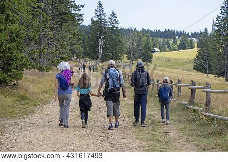 Family With Small Children Hiking Outdoors In Summer Nature, Walking In Rogla, Slovenia