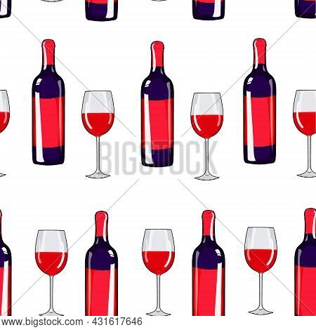 Seamless Pattern Glass Of Wine And Wine Bottle. Alcohol Background. Hand Drawing Wine. Vector Illust