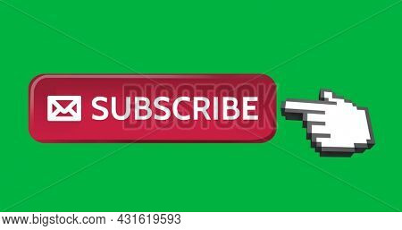 Digital image of red subscription button with vector icon of mail. A moving pointing hand icon on the right on green background 4k