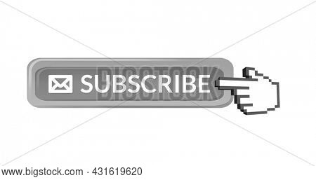 Digital image of the word SUBSCRIBE and envelope icon with a hand icon vector on the left pointing on it against white background. 4k