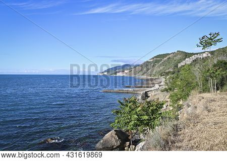 Black Sea Coast With Dilapidated Breakwaters. Abandoned Resort. Beautiful Blue Sea.
