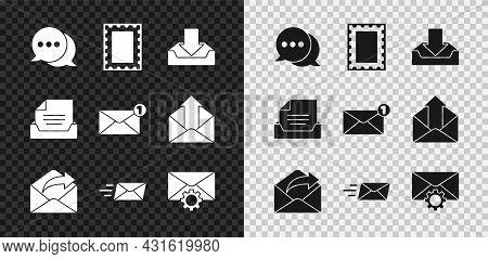 Set Speech Bubble Chat, Postal Stamp, Download Inbox, Outgoing Mail, Express Envelope, Envelope Sett
