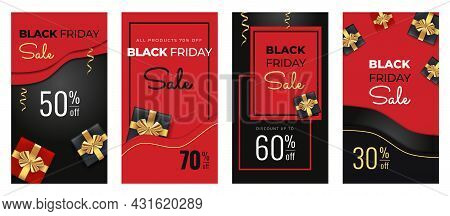 Black Friday Sale Vertical Banners For Social Media. Screen Backdrop For Stories And Posts, Mobile A
