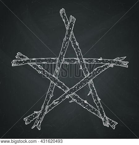 Hand Drawn Wooden Sticks Pentagram, Magic Occult Wicca Star Symbol. Vector Chalk Illustration In Whi