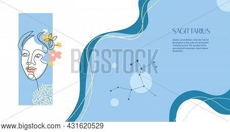 Zodiac Background. Constellation Sagittarius. Horizontal Banner. One Line. Minimalistic Graphics