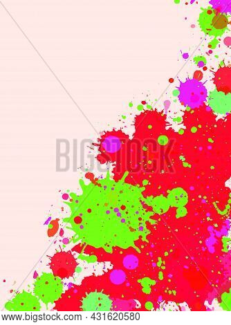 Vibrant Bright Red With Green Drops Watercolor Artistic Splashes Frame With Room For Text, Vertical