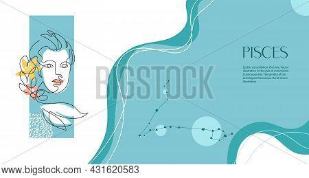 Zodiac Background. Capricorn Constellation. Horizontal Banner. One Line. Minimalistic Graphics