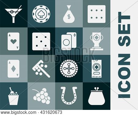 Set Wallet, Casino Poker Tournament Invitation, Trophy Cup, Money Bag, Game Dice, Playing Card With
