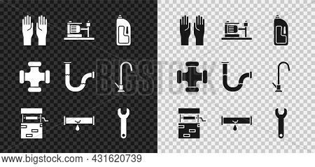 Set Rubber Gloves, Electric Water Pump, Container With Drain Cleaner, Well, Broken Pipe Leaking, Wre