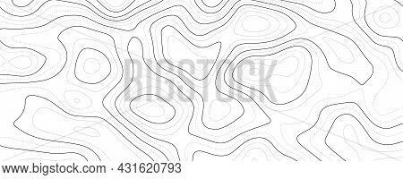 Contour Map Background. Vector Geography Scheme And Terrain. Light Topography Grid Map.