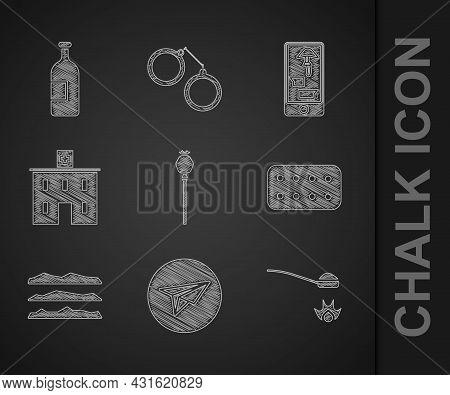 Set Opium Poppy, Messenger, Heroin In A Spoon, Pills Blister Pack, Cocaine Or Heroin Drug, Medical H