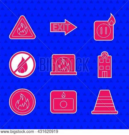 Set Interior Fireplace, Fire Alarm System, Traffic Cone, Medical Hospital Building, Flame, No, Elect