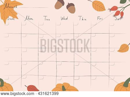 Printable A4 Paper Sheet, Bullet Journal Page With Autumn Attributes, Month Planner Blank, To Fill F