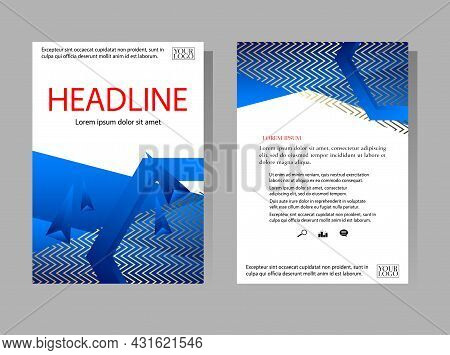 Blue Polygon Annual Report Templates. Geometry Brochure, A4 Size Flyer, Book Cover Template. Abstrac