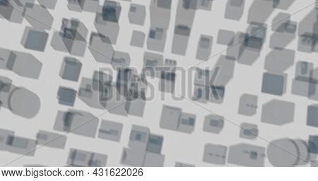 Image of aerial view of moving 3d architectural drawing of buildings in a city 4k