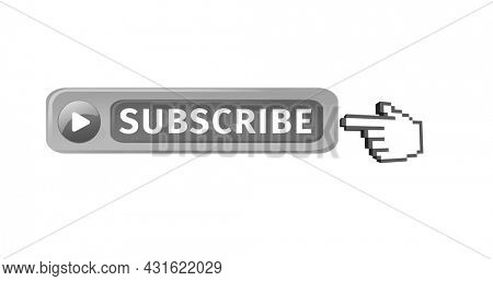 Digital image of the word SUBSCRIBE and play icon with hand icon vector on the left pointing on it against white background. 4k