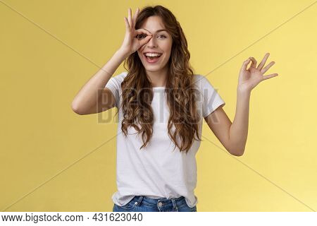Friendly Charismatic Enthusiastic Happy Woman Having Perfect Day Show Okay Ok Circle Gesture Look Th