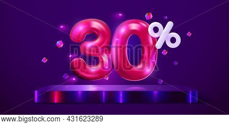 30 Percent Off. Discount Creative Composition. Mega Sale Neon Banner.