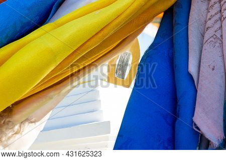 Colorful Buddhist Prayer Scarves Against White Buddhist Stupa Of An Enlightenment