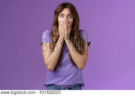 Shocked Concerned Ambushed Scared Intense Girl Gasping Hold Scream Cover Mouth Stare Camera Frighten
