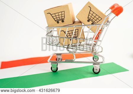 Box With Shopping Cart Logo And Hungary  Flag, Import Export Shopping Online Or Ecommerce Finance De