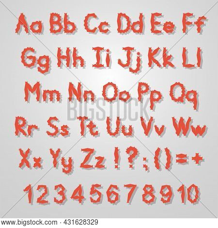 English Alphabet. Vector Set. Bright Red Color Style. For Halloween. Hand Drawn Font. Numbers, Lower
