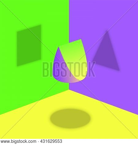 Different Shadows From One Object - Round, Triangular And Square Shadow From Wedge Shaped Item - Opt