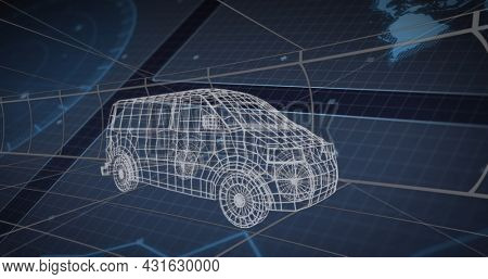Image of 3d van technical drawing scopes scanning and data processing on screens. global connections, technology and digital interface concept digitally generated image.