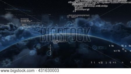 Image of scopes scanning and data processing on screens over globe and clouds. global connections, technology and digital interface concept digitally generated image.