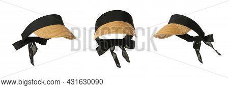 Set With Stylish  Straw Visor Caps On White Background, Banner Design. Stylish Headdress